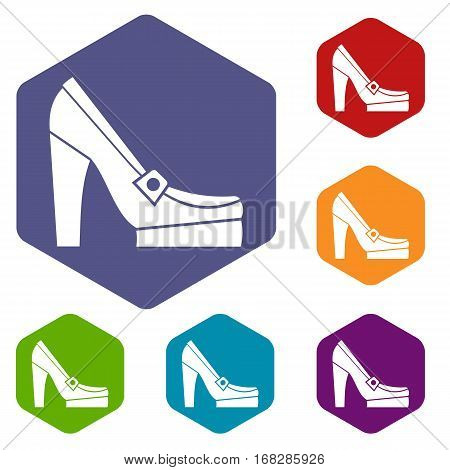 Women shoes on platform icons set rhombus in different colors isolated on white background