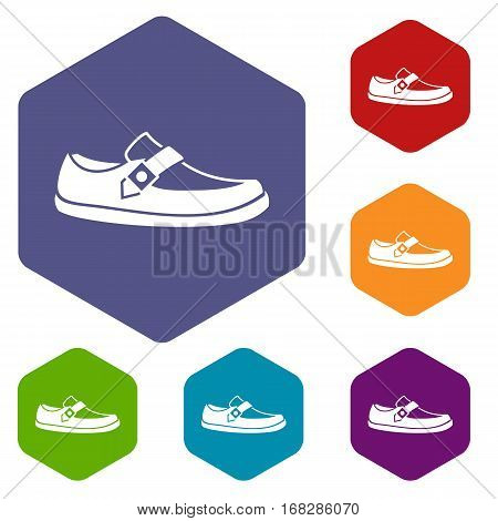 Men moccasin icons set rhombus in different colors isolated on white background