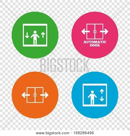 Automatic door icons. Elevator symbols. Auto open. Person symbol with up and down arrows. Round buttons on transparent background. Vector