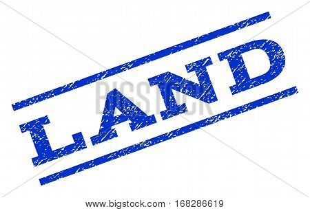 Land watermark stamp. Text caption between parallel lines with grunge design style. Rotated rubber seal stamp with dirty texture. Vector blue ink imprint on a white background.