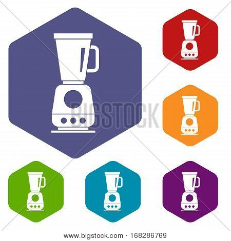 Blender icons set rhombus in different colors isolated on white background