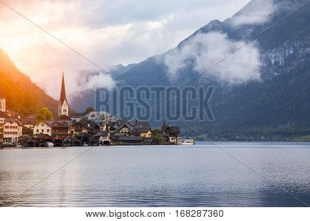 Little Famous Village Hallstatt In Austrian