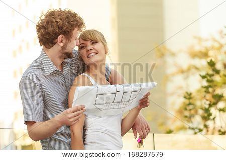 Couple With Blueprint Project Keys Outdoor