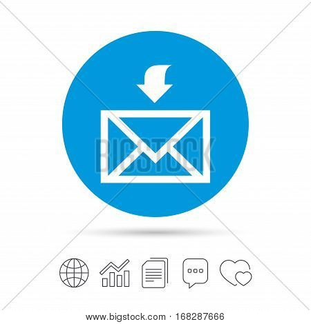 Mail receive icon. Envelope symbol. Get message sign. Mail navigation button. Copy files, chat speech bubble and chart web icons. Vector