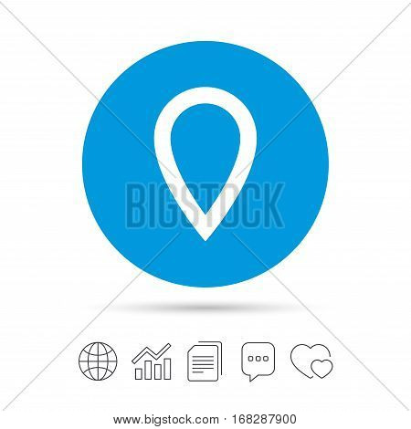 Map pointer sign icon. Location marker symbol. Copy files, chat speech bubble and chart web icons. Vector
