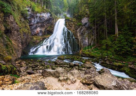 The Majestic Gollinger Waterfall In Austria