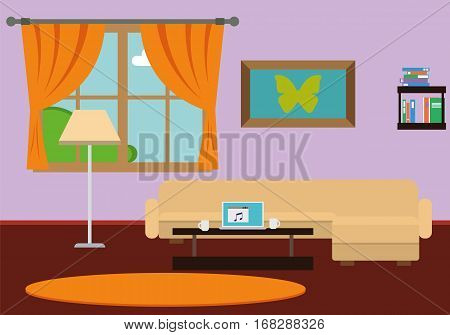 Stylish comfortable room interior with sofa, lamp, window. Flat style vector illustration.