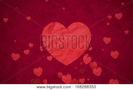 red bokeh hearts shape of crumpled paper flowing with big heart in center on red background with particles sparkle glitter valentine day love holiday event festive