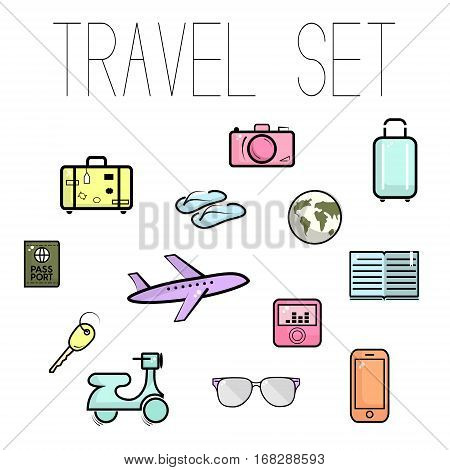 Travel set in vector. Vacation colorful illustration. Trip accessories: luggage, sunglasses, moped, airplane, key, passport, phone, camera, flipflops. Stylish tourism illustration. Adventure icons
