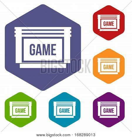 Game cartridge icons set rhombus in different colors isolated on white background