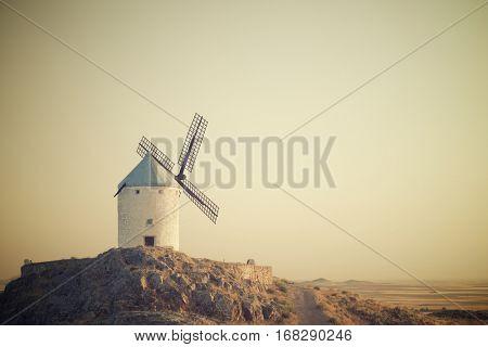 Windmill in Consuegra, Toledo Province, Castilla La Mancha, Spain.