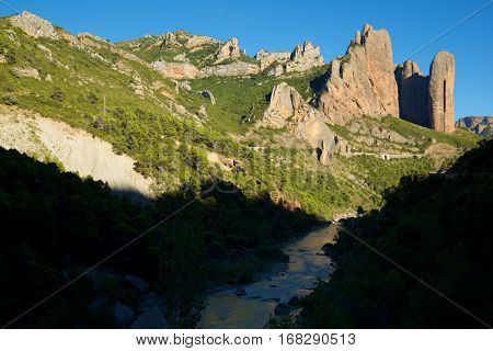 Riglos Mountains, known as Mallos de Riglos, Riglos, Huesca Province, Aragon, Spain.