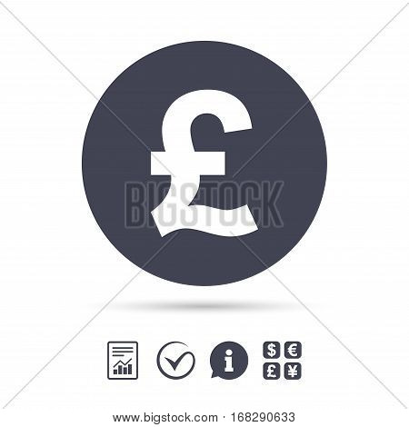 Pound sign icon. GBP currency symbol. Money label. Report document, information and check tick icons. Currency exchange. Vector