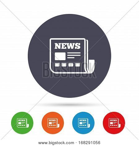 News icon. Newspaper sign. Mass media symbol. Round colourful buttons with flat icons. Vector