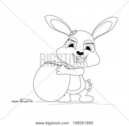 drawing Bunny coloring with easter egg on white background