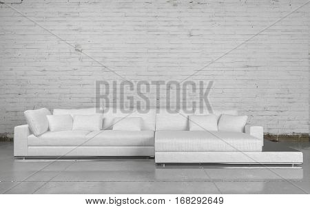 Large comfortable white modular couch in a white painted brick living room with tiled floor and minimalist decor. 3d Rendering.