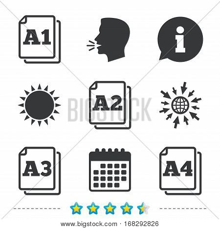 Paper size standard icons. Document symbols. A1, A2, A3 and A4 page signs. Information, go to web and calendar icons. Sun and loud speak symbol. Vector