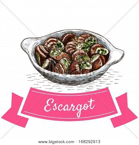 Escargot colorful illustration. Vector illustration of French cuisine.