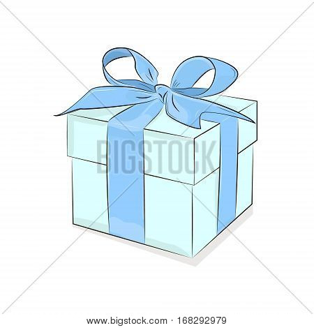 Vector Box with Ribbon. Breakfast design. Turquoise isolated gift box on white background. Present illustration. Love occasional gift. Anniversary clipart.