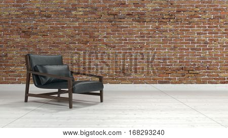 Comfortable modern black leather and metal recliner chair in a brick room with white parquet floor and copy space, panoramic view. 3d Rendering.