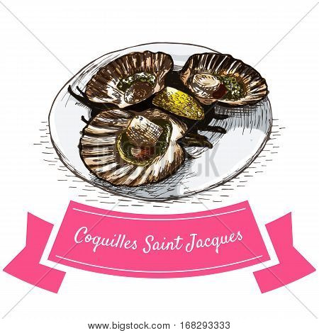 Coquilles Saint Jacques colorful illustration. Vector illustration of French cuisine.