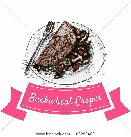 Buckwheat Crepes colorful illustration. Vector illustration of French cuisine.
