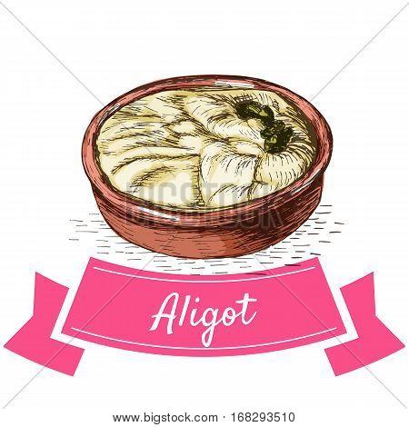 Aligot colorful illustration. Vector illustration of French cuisine.
