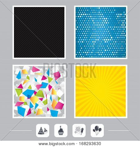 Carbon fiber texture. Yellow flare and abstract backgrounds. Birthday party icons. Cake, balloon, hat and muffin signs. Fireworks with rocket symbol. Cupcake with candle. Flat design web icons. Vector