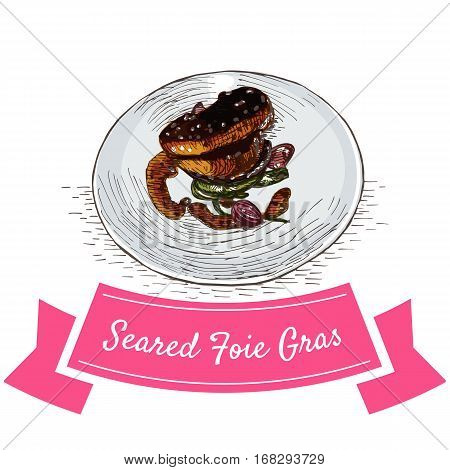 Seared Foie Gras colorful illustration. Vector illustration of French cuisine.