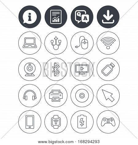 Information, download and report signs. Computer elements icons. Notebook, usb port and smartphone. Printer, smart watch and game console joystick. Bluetooth, flash stick and cursor pointer. Vector