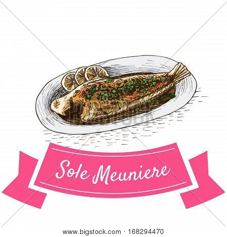 Sole Meuniere colorful illustration. Vector illustration of French cuisine.