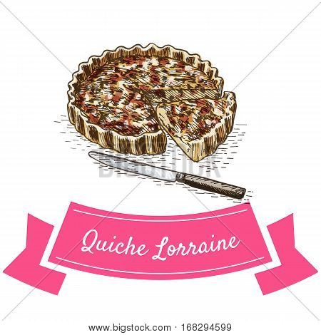Quiche Lorraine colorful illustration. Vector illustration of French cuisine.