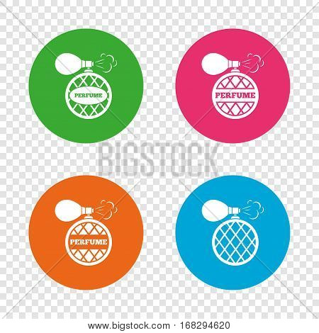 Perfume bottle icons. Glamour fragrance sign symbols. Round buttons on transparent background. Vector
