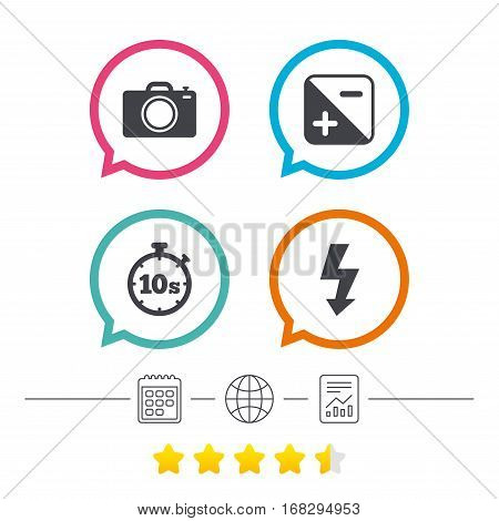 Photo camera icon. Flash light and exposure symbols. Stopwatch timer 10 seconds sign. Calendar, internet globe and report linear icons. Star vote ranking. Vector