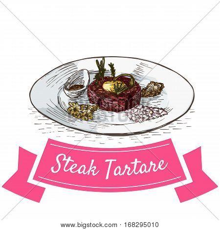 Steak Tartare colorful illustration. Vector illustration of French cuisine.