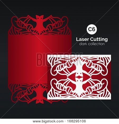 Laser cutting with bat. Enverlope for die cut template. Skeleton head silhouette for the Day of the death and Halloween