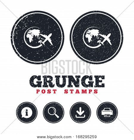 Grunge post stamps. Airplane sign icon. Travel trip round the world symbol. Information, download and printer signs. Aged texture web buttons. Vector