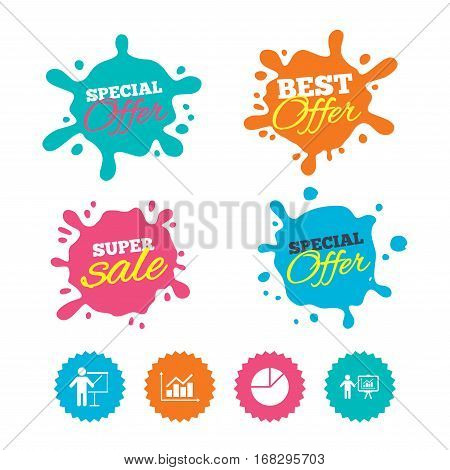 Best offer and sale splash banners. Diagram graph Pie chart icon. Presentation billboard symbol. Supply and demand. Man standing with pointer. Web shopping labels. Vector