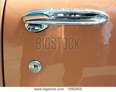 Door handle on 1955 antique two door coupe poster