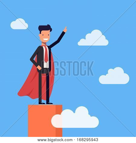 Super businessman or manager standing on the top of the graph. Superman high in the sky among the clouds. Vector, illustration EPS10