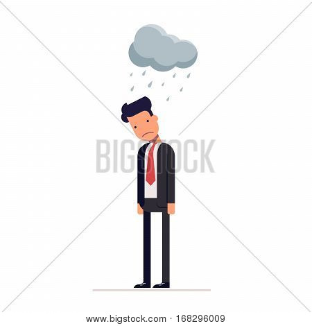 Concept of pessimist businessman or manager for the crisis. Flat character isolated on white background. Vector, illustration EPS10