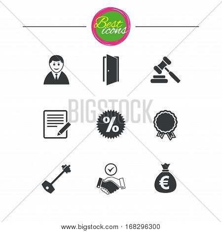 Real estate, auction icons. Home key, discount and door signs. Business agent, award medal symbols. Classic simple flat icons. Vector