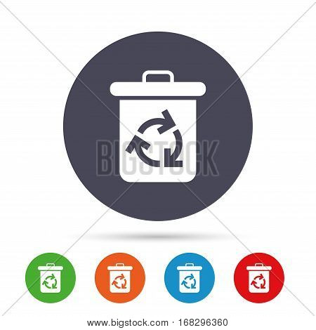 Recycle bin icon. Reuse or reduce symbol. Round colourful buttons with flat icons. Vector