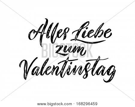 Valentines Day German calligraphy text lettering  Alles Liebe zum Valentinstag for luxury premium white greeting card
