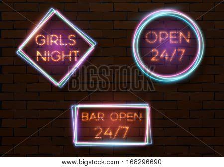 Illustration of Vector Neon Quote Frame Template. Vintage Neon Banner. Bar Advertising Neon Billboard