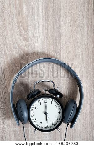 Top View Alarm Clock. Timeless Music Concept.