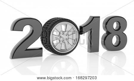 3D rendering of 2018 with car's wheel as zero, on white background.