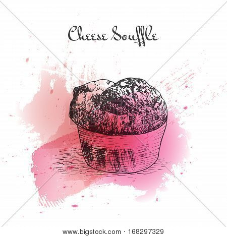 Cheese Souffle watercolor effect illustration. Vector illustration of French cuisine.