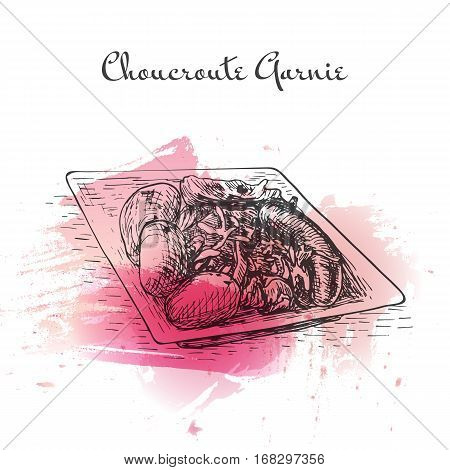 Choucroute Garnie watercolor effect illustration. Vector illustration of French cuisine.