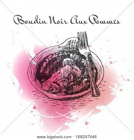 Boudin Noir Aux Pommes watercolor effect illustration. Vector illustration of French cuisine.
